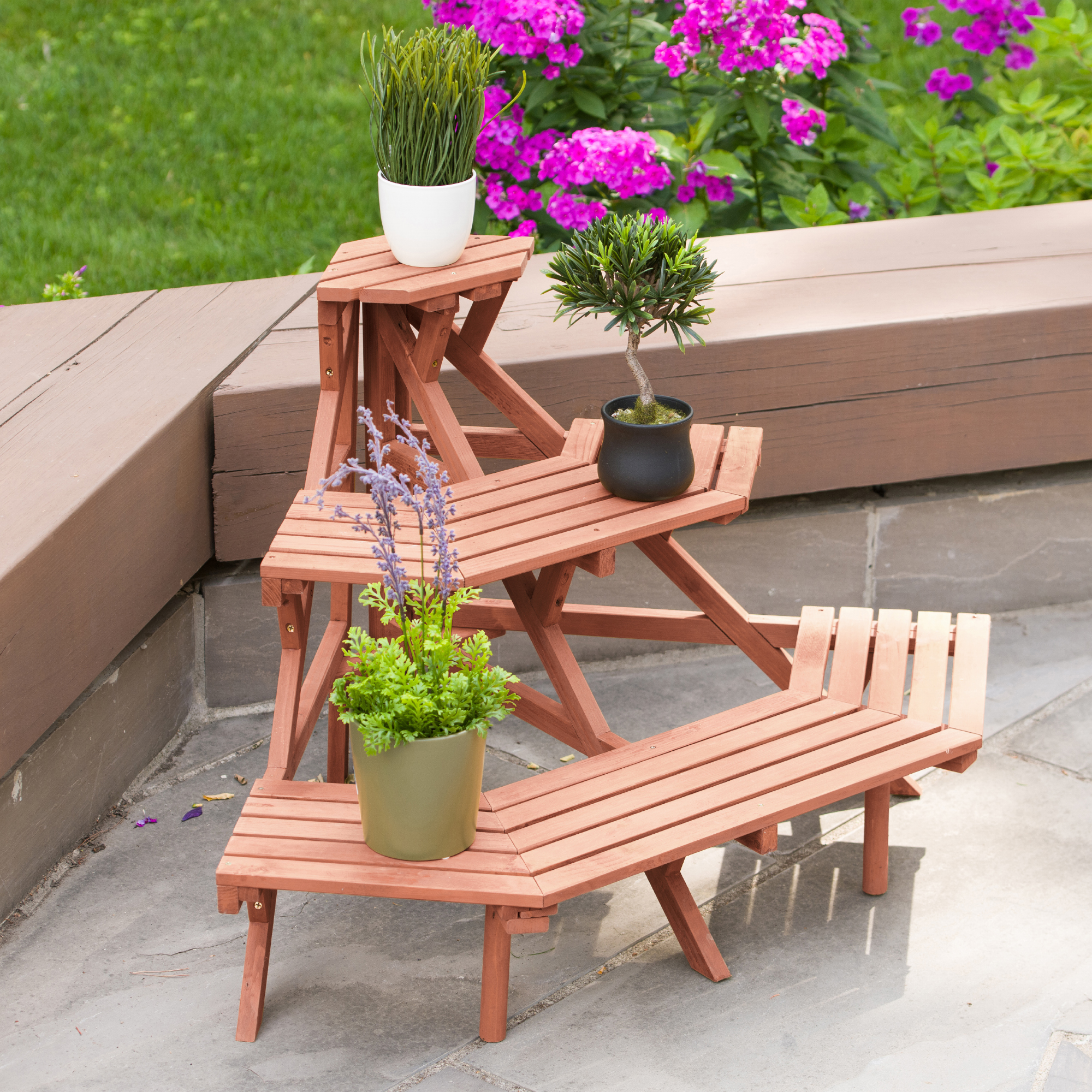 Leisure Season Ltd 3 Tier Quarter Round Plant Stand