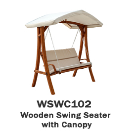 WSWC102 - Wooden Swing Seater with Canopy
